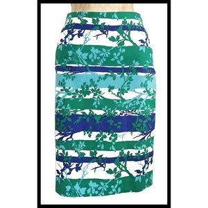 Talbots Green Blue Tree Branch Pencil Skirt 2 w28